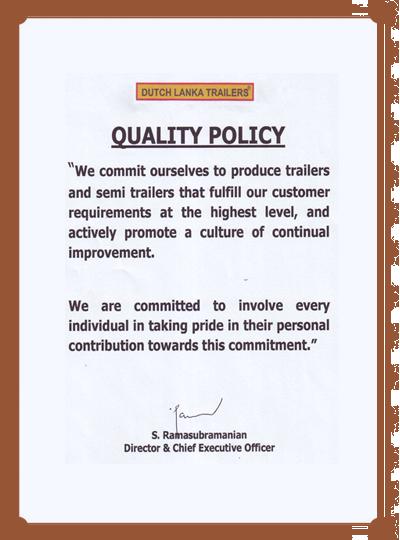 Dutch Lanka | Quality Policies